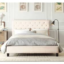Studded Bed Frame Chester Bed Frame In Light Beige White Fabric Buy Throughout
