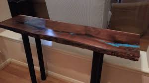 live edge table with turquoise inlay custom live edge walnut console table w turquoise inlay by texas