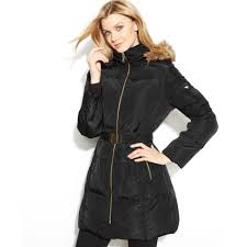 michael kors hooded faux fur trim belted puffer in black lyst