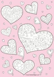 doodle hearts colouring
