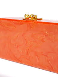 edie marbled effect clutch orange women outlet store