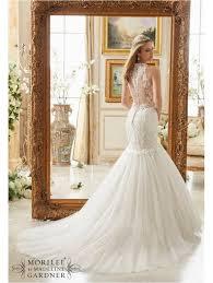 Mori Lee Wedding Dresses Mori Lee 2885 Mermaid Style Wedding Gown Tulle Skirt Ivory Silver