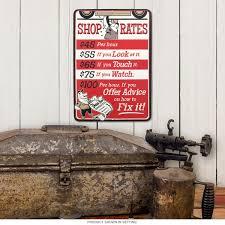 repair shop rates embossed tin sign garage decor retroplanet com