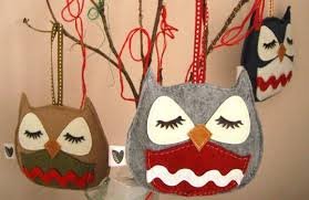 stewart the owl handmade ornaments and throw pillows