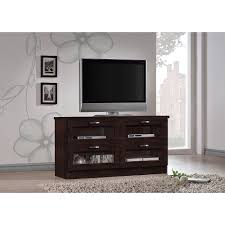 entertainment centers with glass doors baxton studio adelino 47 25 inches dark brown wood tv cabinet with