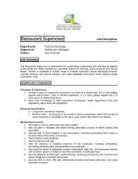 Fast Food Job Description For by Prepossessing Restaurant Manager Job Duties Resume With Additional