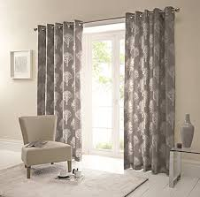 one pair of woodland trees eyelet curtains in charcoal size 90