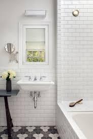 bathroom subway tile walls white beveled bathroom