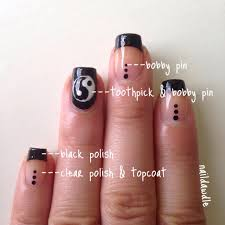 black french tip nails with a yin yang accent because i can