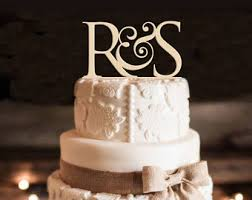 monogram wedding cake topper laserworld on etsy