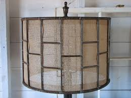 Burlap Chandelier Shades Hand Crafted Industrial Metal Table Lamp With Burlap Shade By