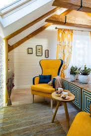 Yellow Fireplace Cheerful Yellow And Blue Attic Bedroom With 3d Effect Home