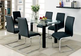 7 pc dining room set walkerville i contemporary style chrome black finish 7 pc dining