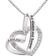 silver zirconia necklace images Alov jewelry sterling silver quot i love you for always jpg