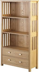 ash veneer bookcase with spacious shelves drawers for books