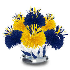 centerpieces for class reunions royal blue and yellow graduation school colors centerpiece party