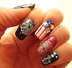 holiday blog party and fireworks stamped nail art design