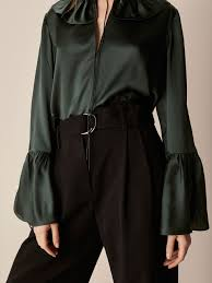 green silk blouse silk blouse with ruffle trims massimo dutti
