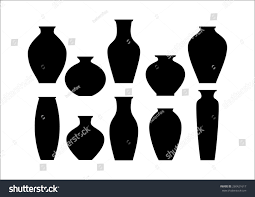 vase set pottery vases flower home stock vector 260421617