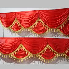 Curtain Drapes For Weddings Aliexpress Com Buy Red Ice Silk Swag With Tassel For Wedding