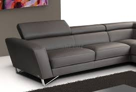 Modern Sectional Sofa Bed by Grey Full Leather Modern Sectional Sofa W Steel Legs
