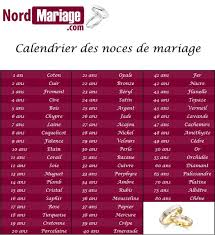 calendrier mariage nom des noces de mariage de mariage