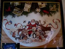 dimensions gold santa s wildlife cross stitch tree skirt 8565