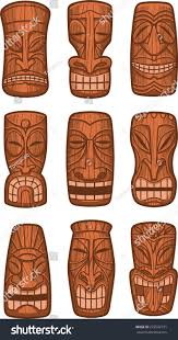 hawaiian tiki god statue carved polynesian stock vector 223502731