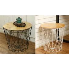 wire and wood basket side table white black metal wire basket wooden top side table storage loft