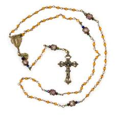 sacred heart rosary antiqued bronze rosary with topaz glass and sacred heart