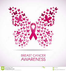 breast cancer awareness with butterfly sign and pink ribbon vector
