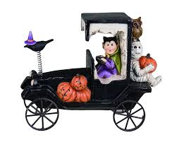 halloween haunted car decoration with mummy vampire and pumpkins