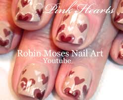easy valentine nail art cute hearts nail art design for short