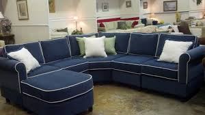 Navy Blue Sectional Sofa 6 Piece Sectional With Wedge Corner In Kid Proof Fabric Pippa