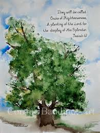 watercolor painting of oak tree with bible verse by ssbaud