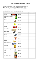 rounding with decimals worksheet rounding to the nearest whole and 1 decimal place by