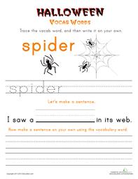 halloween vocab words spider worksheet education com