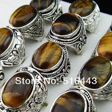 mens rings stones images Big mix style lots 5pcs vintgage silver natural tiger eye stones jpg