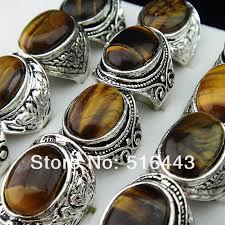 mens rings stones images Big mix style lots 5pcs vintgage silver natural tiger eye stones jpg