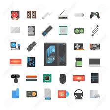 ensemble ordinateur de bureau ensemble d icônes plat moderne composants pc magasin d