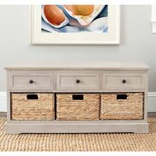 Grey Entryway Table by Safavieh Damien 3 Drawer Wood Storage Unit In Vintage Grey