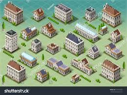 isometric building city palace private real stock vector 174141557