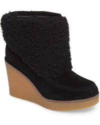 ugg emalie waterproof leather bootie nordstrom rack ugg emalie waterproof wedge bootie in brown lyst