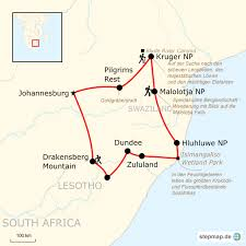 Drakensberg Mountains Map Wanderreise Südafrika Traveljunkies Tours