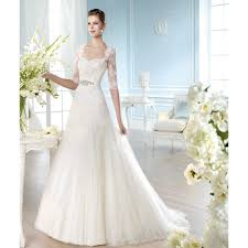 half lace wedding dress lace and tulle half sleeve square collar a line wedding dress