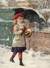 with umbrella in a snow shower greeting card for sale by
