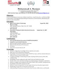 Security Engineer Resume Sample Resume For Ccna Certified Gallery Creawizard Com