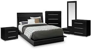 dimora 7 piece king panel bedroom set black american signature