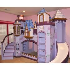 Slide Bunk Bed Pink Purple Wooden Castle Bunk Bed With Purple Staircase And Pink