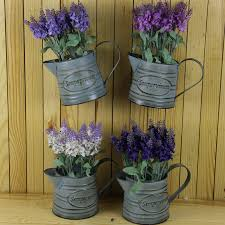 Vintage Flower Pots - wall bucket flower pots planters with artificial flower lavender